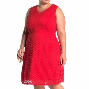 Sharagano Red Eyelet Knit Dress Size 18W